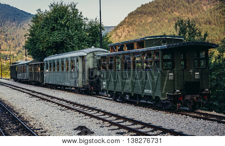 Mokra Gora Serbia - August 28 2015. Old railway carriages on Mokra Gora station in Serbia