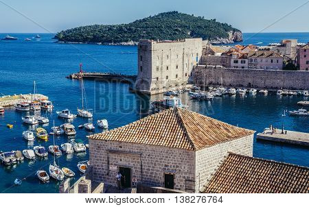 Dubrovnik Croatia - August 26 2015. Old Town of Dubrovnik. View with Saint John Fortress and Lokrum Isle