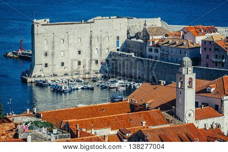 Dubrovnik Croatia - August 26 2015. Aerial view of the Old Town of Dubrovnik. Saint John Fortress on photo