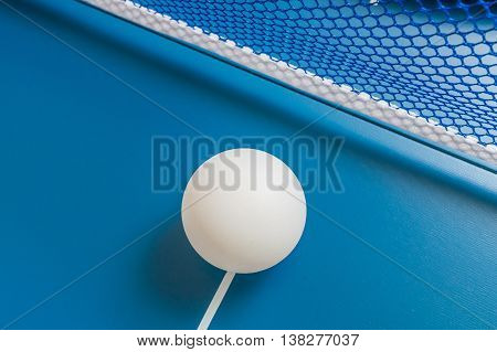 Sport Concept. Ping Pong Ball On Blue Table For Playing Table Te