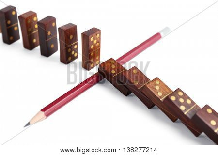 Pencil blocked dominoes row, isolated on white
