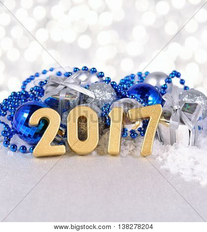 2017 Year Golden Figures And Silvery And Blue Christmas Decorations