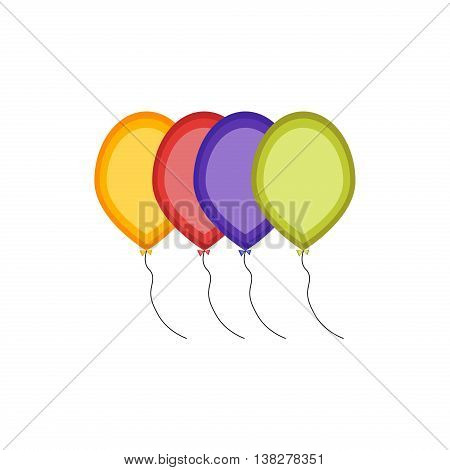 Multicolored balloons vector illustration. Party air birthday balloons happy celebrate illustration helium surprise. Colorful carnival festive balloons. Festival anniversary bunch isolated.