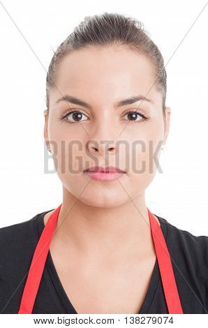 Portrait Of Confident And Gorgeous Saleswoman In Close-up