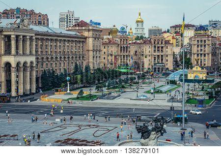Kiev Ukraine - July 26 2015. View of Independence Square in Kiev