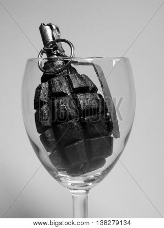 an explosive cocktail of manual fragmentation grenades