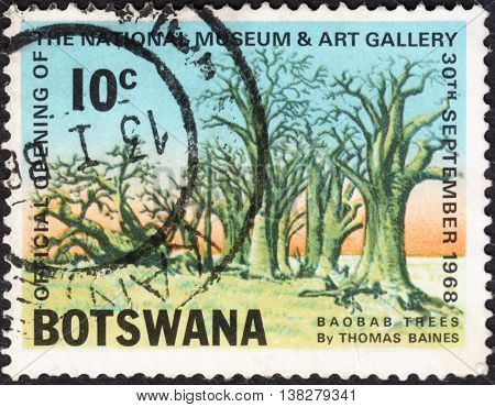 MOSCOW RUSSIA - JANUARY 2016: a post stamp printed in BOTSWANA shows baobab trees the series