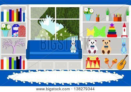 Children's toys, musical instruments, houseplant, window, landscape, furniture, vector