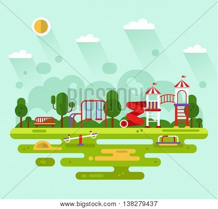 Flat design vector summer landscape illustration of park with kids playground and equipment with swings, slides and tube, carousel, bench, sandbox, clouds, sun. Amusement park for children.
