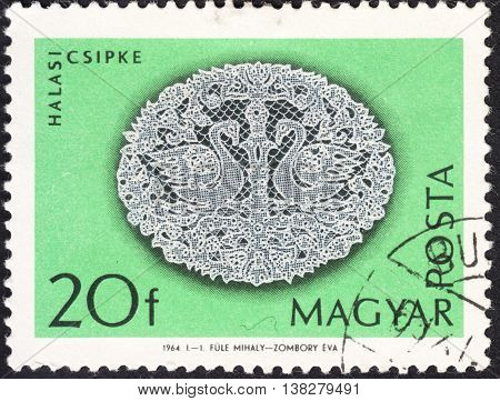 MOSCOW RUSSIA - JANUARY 2016: a post stamp printed in HUNGARY shows traditional hungarian lace the series