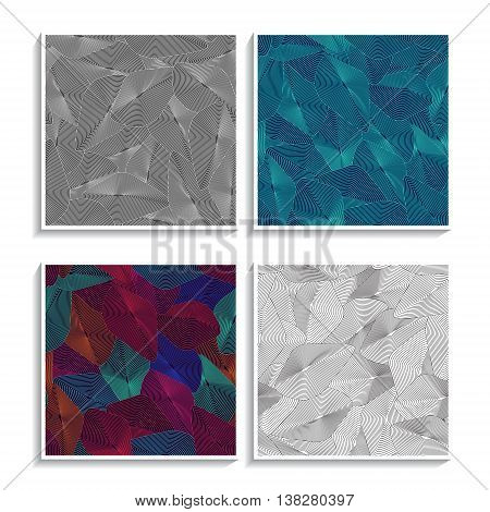 Optical illusion patterns set. Whirl figures futuristic textures. Hypnotic dynamic pattern. Trendy vector backgrounds can be used for web design wallpapers or printed products.