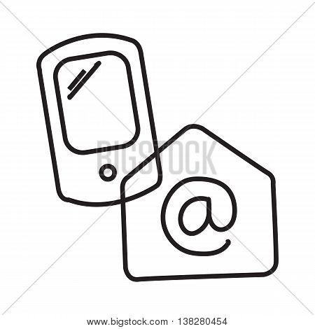 Phone and email. Retrieve e-mail over Internet. Message to phone with mail Line art.