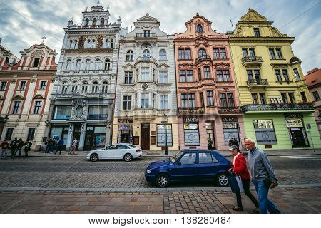 Pilsen Czech Republic - October 3 2015. Buildings at Republic Square in Pilsen (Plzen) city