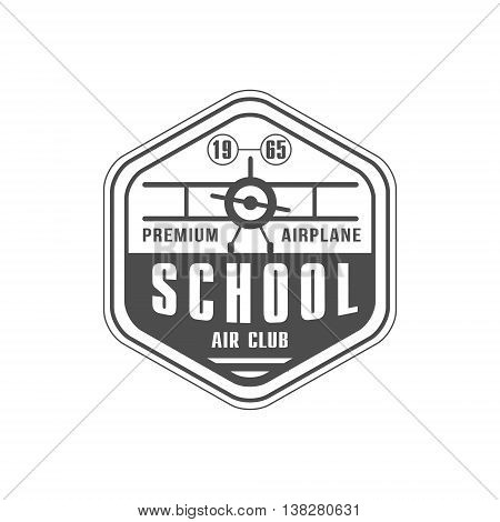 Air Club Emblem Classic Style Vector Logo With Calligraphic Text On White Background