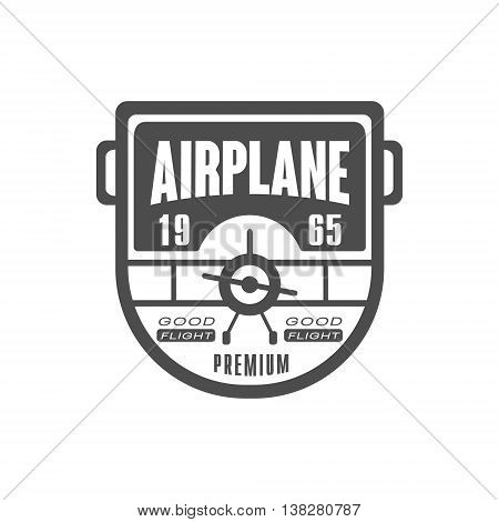 Good Flight Airplane Club Emblem Classic Style Vector Logo With Calligraphic Text On White Background