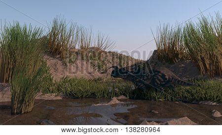3d illustration of a walking einiosaurus