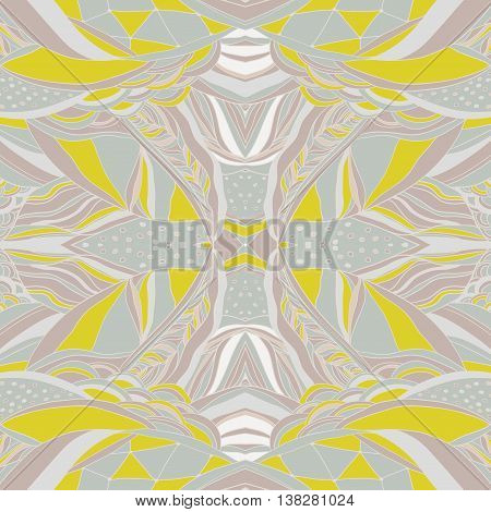 Traditional ornamental yellow paisley bandanna. Hand drawn colorful aztec pattern with artistic pattern. Seamless pattern can be used for pattern fills web page background surface textures.