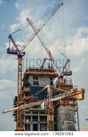 Tel Aviv Israel - October 18 2015. Building cranes in Tel Aviv