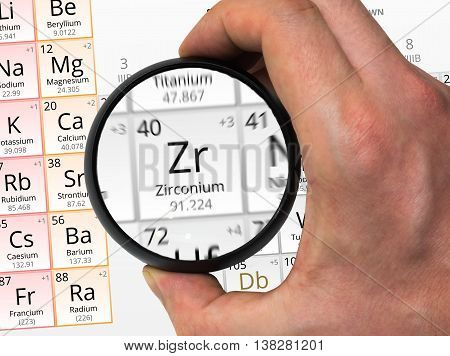 Zirconium Symbol - Zr. Element Of The Periodic Table Zoomed With