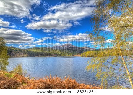 Beautiful Scottish Loch Garry Scotland UK lake west of Invergarry on the A87 south of Fort Augustus and north of Fort William in colourful HDR