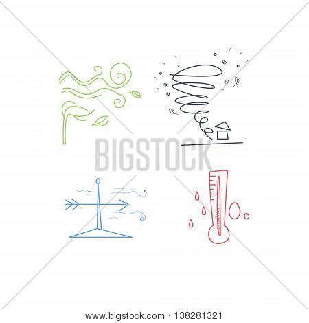 Cold And Windy Weather Set Hand Drawn Childish Illustration In Funny Comic Style On White Background