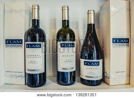 Eshtaol Israel - October 19 2015. Bottles of wines produced in Israel by Flam company