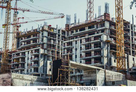 Tel Aviv Israel - October 20 2015. Building cranes on construction site in Tel Aviv