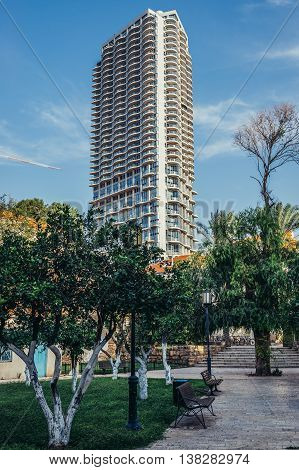 Tel Aviv Israel - October 20 2015. Modern residential building called Nehoshtan Tower in historic Neve Tzedek district (lit. Abode of Justice) of Tel Aviv