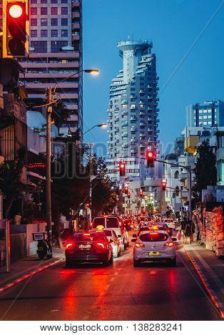 Tel Aviv Israel - October 20 2015. Traffic jam at HaYarkon Street in Tel Aviv. View with Isrotel Tower Hotel