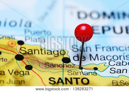 Sanchez pinned on a map of Dominican Republic