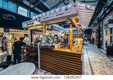 Tel Aviv Israel - October 21 2015. Small cafe bars in pupular covered public market called Sarona Market in Tel Aviv