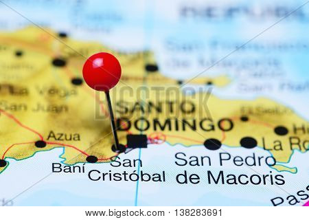 San Cristobal pinned on a map of Dominican Republic