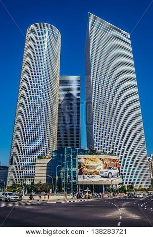 Tel Aviv Israel - October 21 2015. View of Azrieli Center complex of three skyscrapers in Tel Aviv