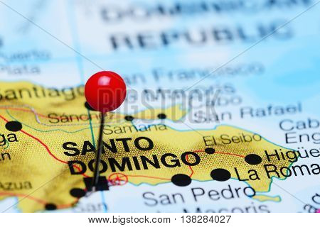 Santo Domingo pinned on a map of Dominican Republic