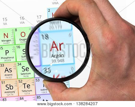 Argon Symbol - Ar. Element Of The Periodic Table Zoomed With Mag