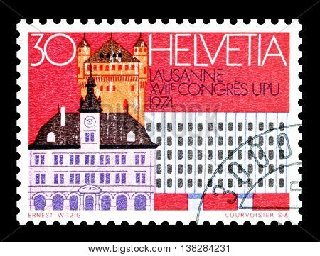 SWITZERLAND - CIRCA 1974 : Cancelled postage stamp printed by Switzerland, that shows Lausanne.