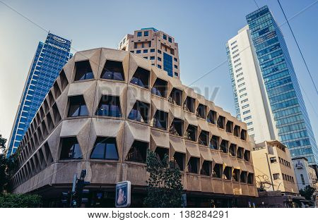 Tel Aviv Israel - October 21 2015. Apartment house in Tel Aviv. View with modern buildings of Bank Discount Tower and Leumi Tower