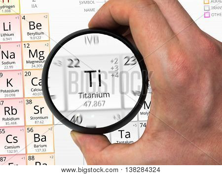 Titanium Symbol - Ti. Element Of The Periodic Table Zoomed With