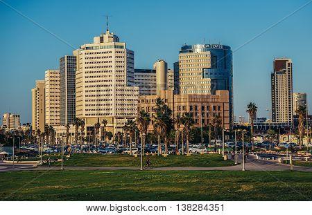 Tel Aviv Israel - October 21 2015. View of office buildings in Tel Aviv. Beit Textil Gibor House Trade Tower on photo