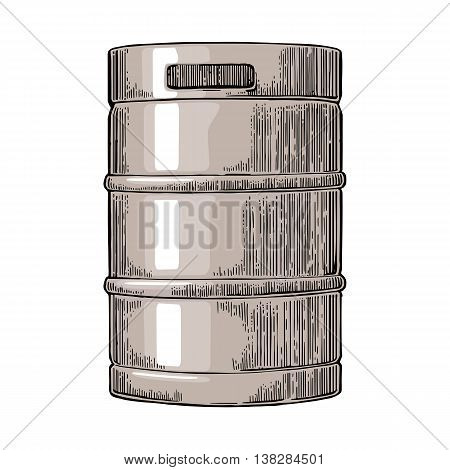 Metal beer keg. Vintage vector engraving illustration for web poster. Isolated on white background.