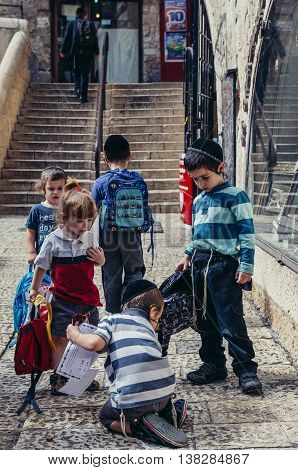 Jerusalem Israel - October 22 2015. Group of Jewish school kids on the street of Jewish Quarter