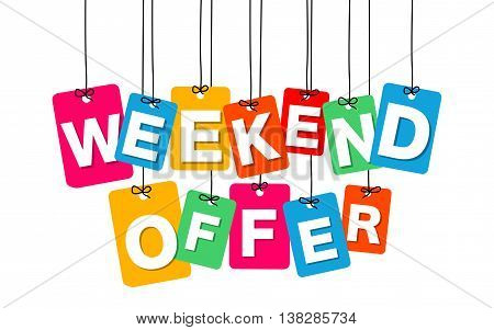 Vector colorful hanging cardboard. Tags - weekend offer on white background