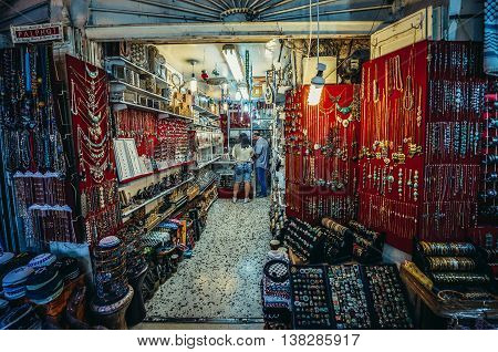 Jerusalem Israel - October 22 2015. Jewellery and souvenirs for sale on Arab baazar located inside the walls of the Old City of Jerusalem