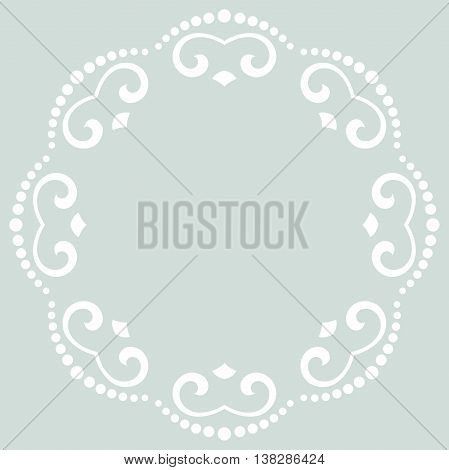 Oriental vector pattern with arabesques and floral elements. Traditional classic ornament. Light blue and white pattern