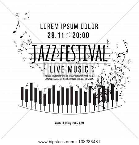 Vector design of  Jazz music festival, poster background template. keyboard with music notes.