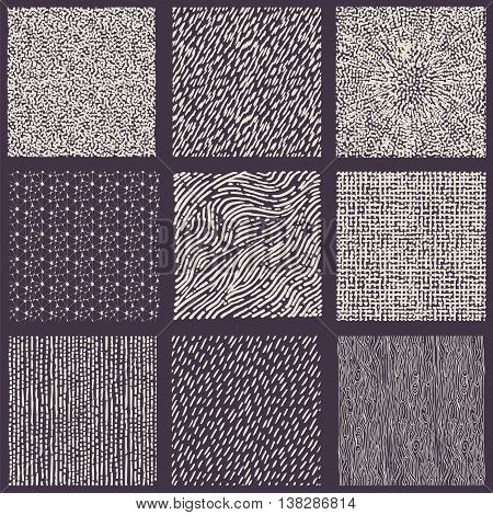 Set of hand drawn marker and ink patterns. Simple vector scratchy textures with dots strokes and doodles