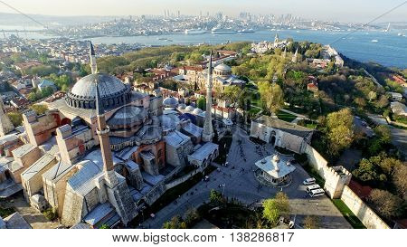 Aerial View of Istanbul Historical Peninsula, Turkey