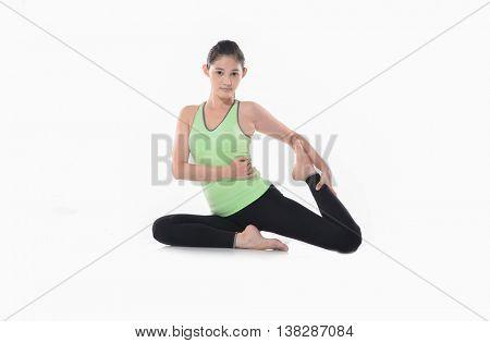 beautiful asian girl with yoga pose