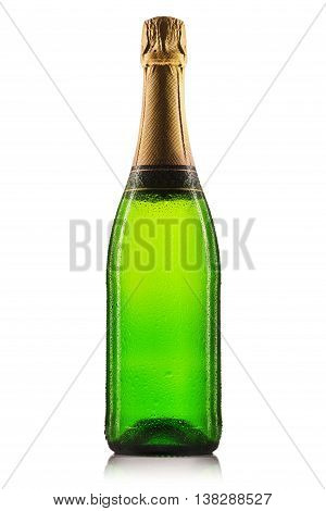 Bottle of champagne or sparkling wine isolated on a white background.