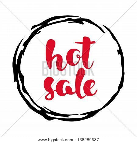 Modern SALE sticker. Round label in red, black and white. Hand written lettering. The word SALE on an ink blob. Calligraphy design element. Sale background. Vector illustration.
